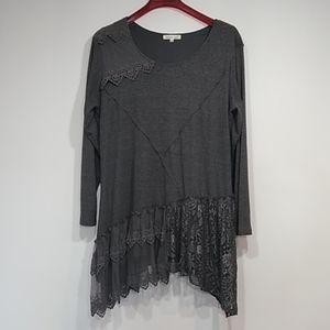 Indigo soul grey top tunic sz 2 XL